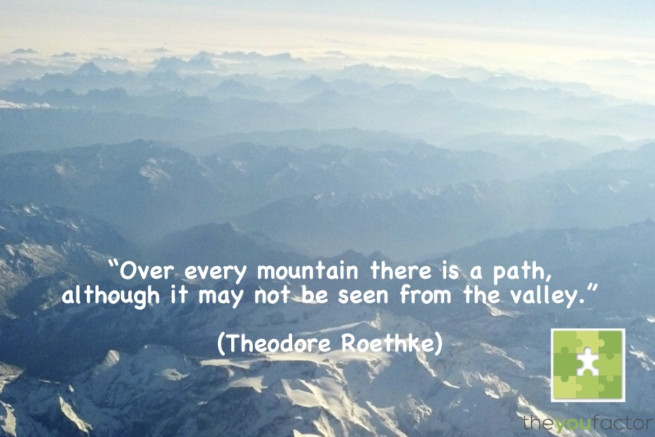 quote Theodore Roethke: Over every mountain there is a path, although it may not be seen from the valley.