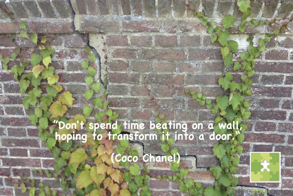 quote Coco Chanel: Don't spend time beating on a wall, hoping to transform it into a door.